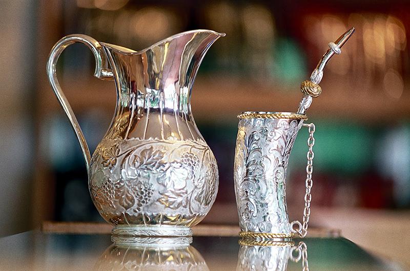 Terere - Jarra y guampa de plata