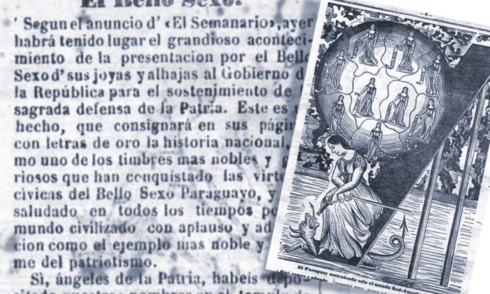 mujer paraguaya - Grabado De Info Sobre Las Mujeres Donando Sus Joyas