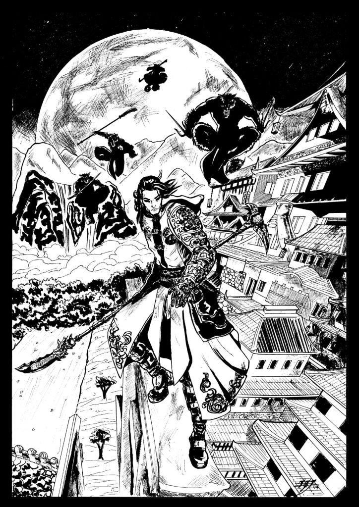 foto In bianco e nero dove il personaggio del fumetto combatte contro i nemici