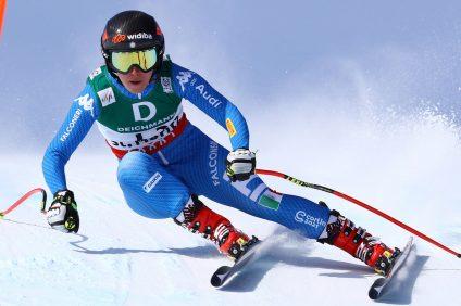 Atleta sciatrice Sofia Goggia nella sua migliore performance