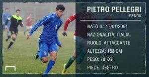Pietro Pellegri è un attaccante classe 2001 di altezza 188Cm e grande stazza fisica.