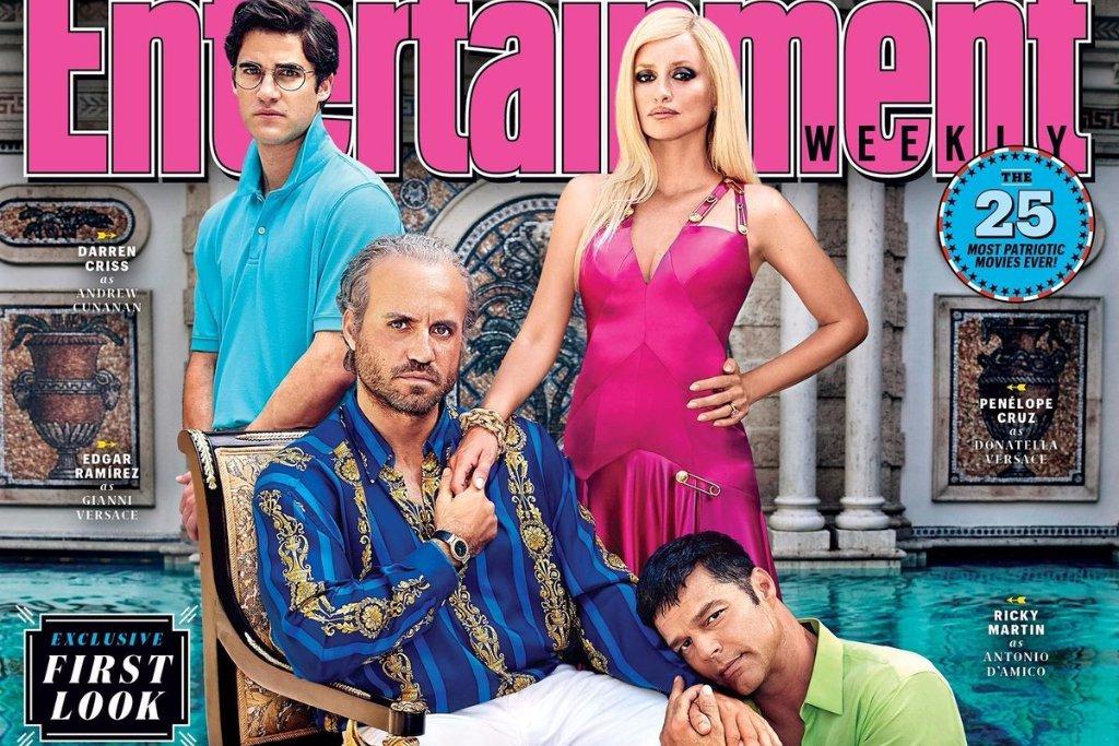 La copertina con il cast della serie TV su Gianni Versace