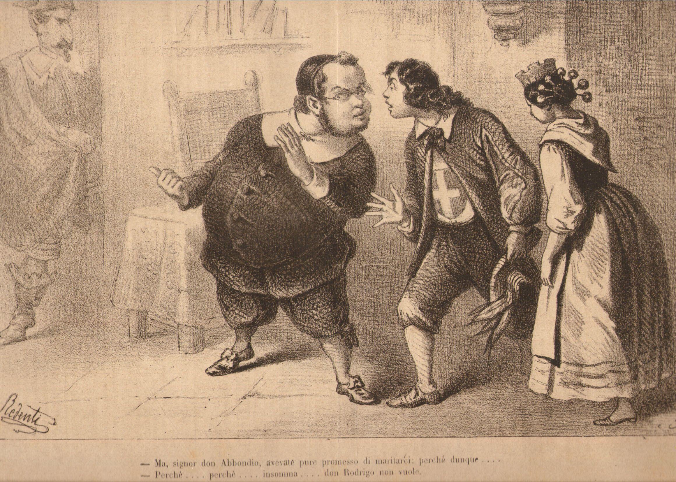 Vignetta satirica che vede Camillo Benso conte di Cavour nei panni di Don Abbondio, dei Promessi Sposi