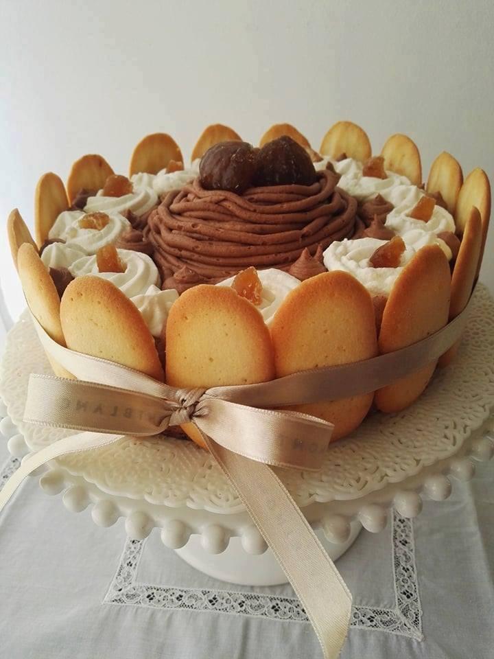 Dolce d'autunno con mousse alla crema di marroni - torta finita