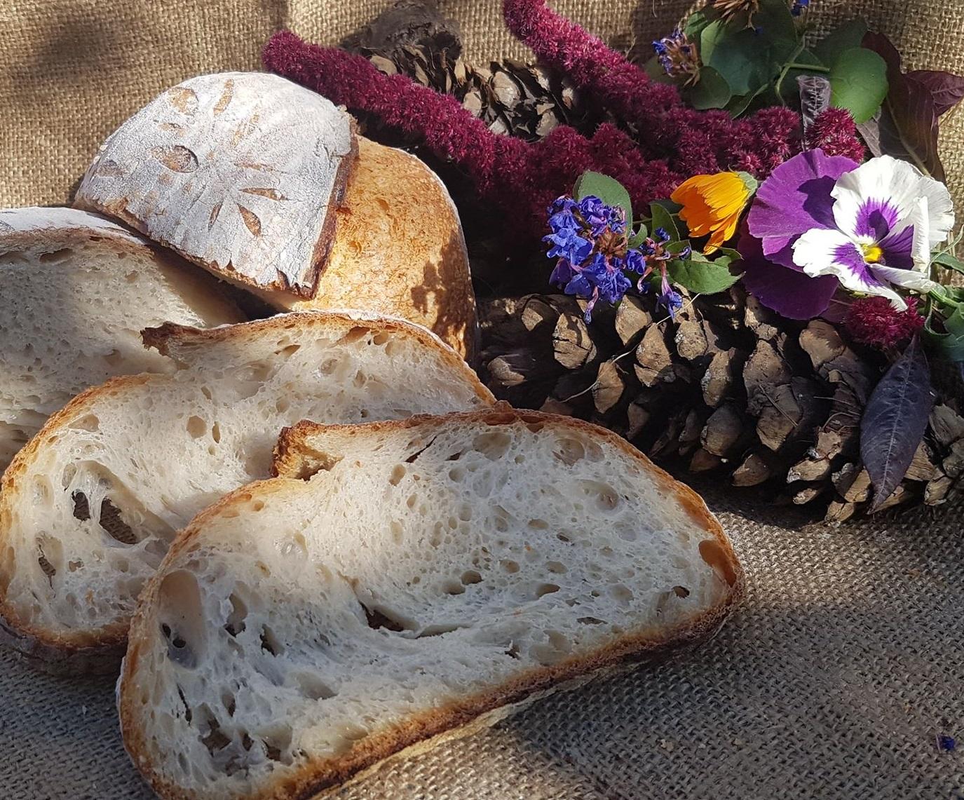 Pane autunno in fermento pane tagliato a fette
