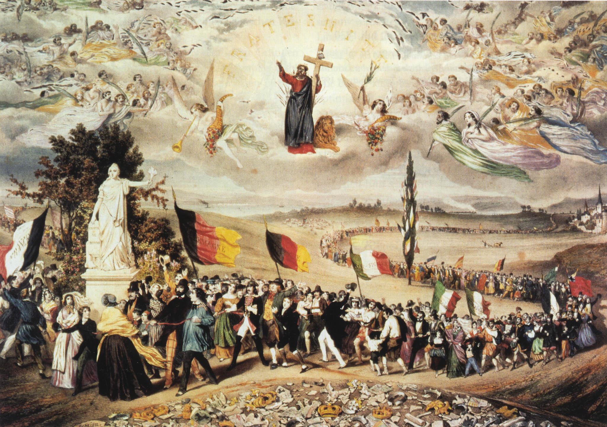 Inno - Rappresentazione pittorica del 1848: la Primavera dei Popoli europei