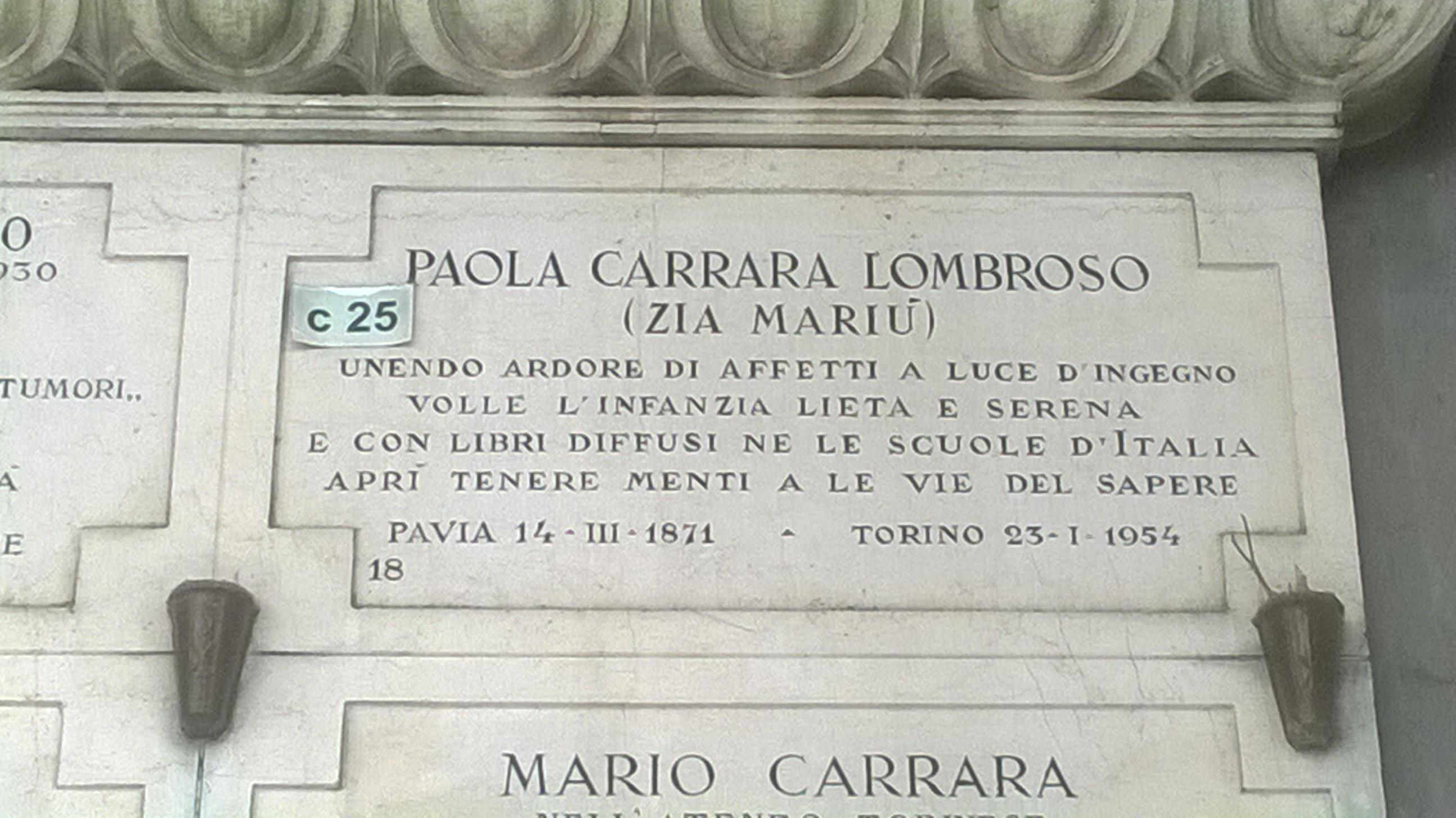 Corriere dei Piccoli - Lapide ed epitafio di Paola Lombroso
