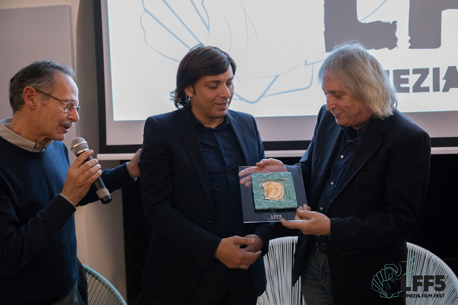 Enrico Vanzina - ritiro premio insieme ad Anton Giulio Grande