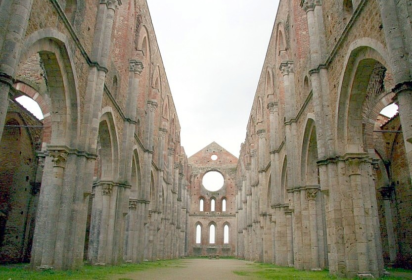 The Abbey of San Galgano, where the sword is preserved in the rock