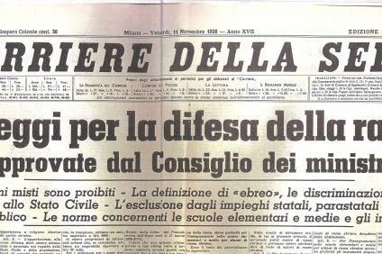 giorno della memoria - immagine del Corriere del 1938