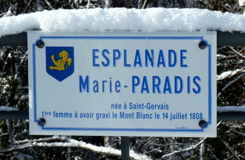 Monte Bianco - Segnale stradale che indica la Scalata di Marie Paradis