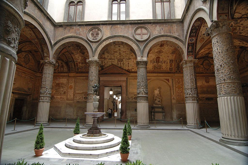 The courtyard of Palazzo Vecchio with the Putto with dolphin in the middle