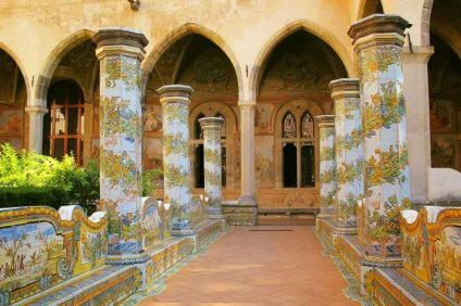 holy clear monastery - an image of the cloister among gardens and columns