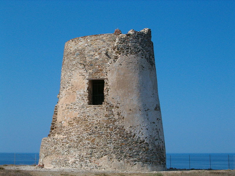 Torre dei Corsari. Ancient fort of sighting on the sea with small window of guard