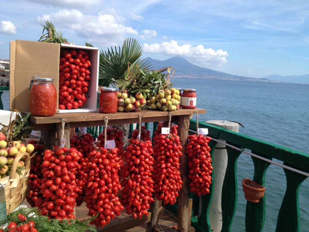 Piennolo tomatoes, bunches and preserves