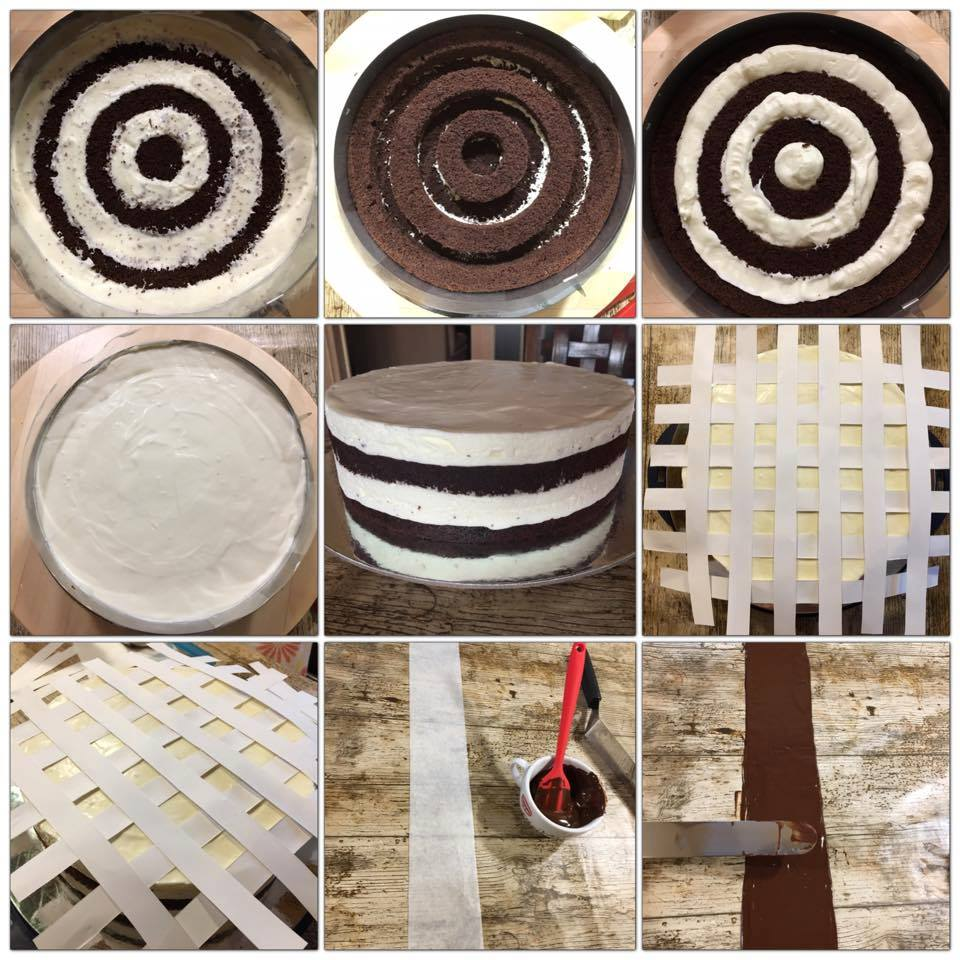 chessboard cake - preparation steps