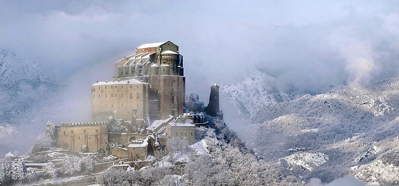 the sacra of San Michele - snowy image of the sacred