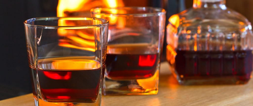 closeup of glasses with liqueur