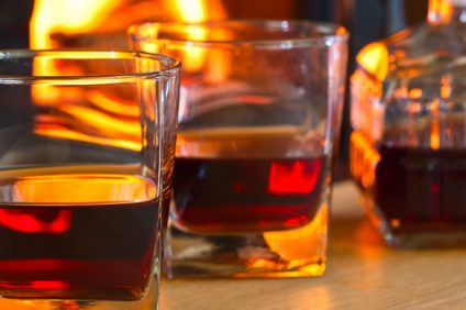 closeup of glasses with liqueur