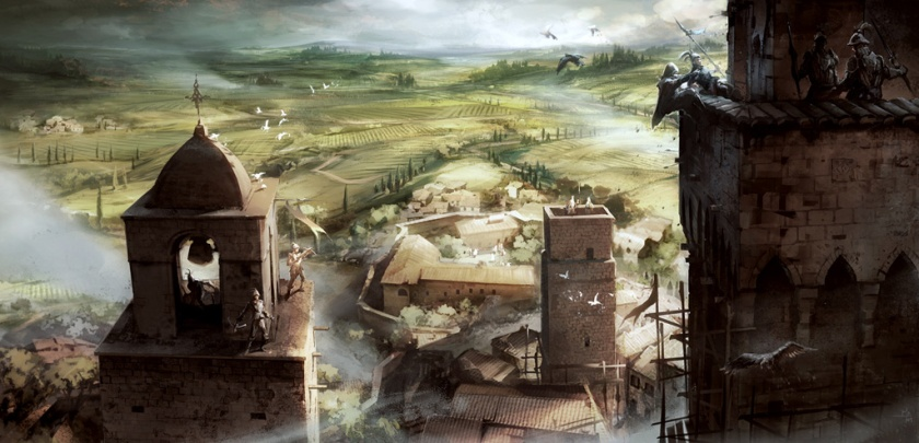 An overview of San Gimignano in the Assassin's Creed II game