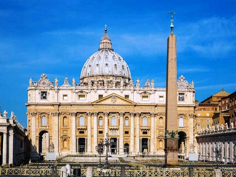 Basilica of Saint Peter. the facade and the obelisk