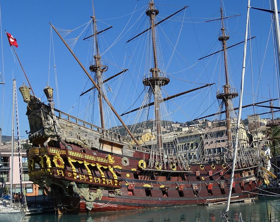 una caravella nel porto di Genova