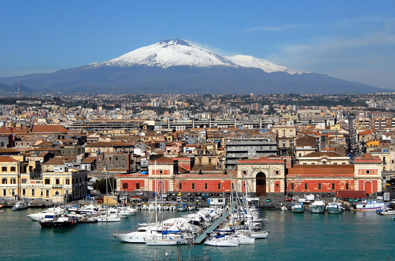catania - Panorama of Etna with some snow