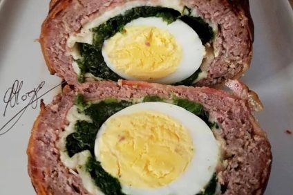 meatloaf sliced with the egg inside