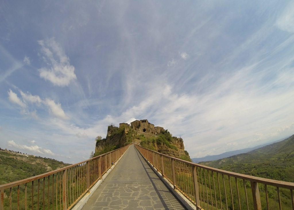 Civita di Bagnoregio.Bridge leading to the ancient village