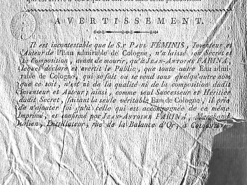 Acqua di Colonia: documento