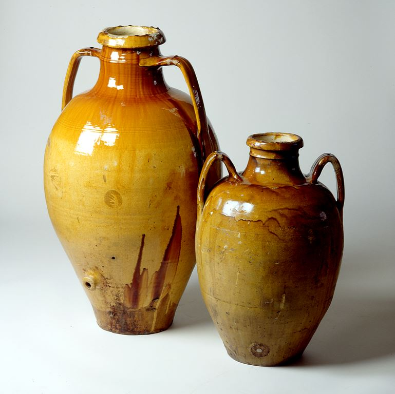 two amphorae made with grotesque ceramics