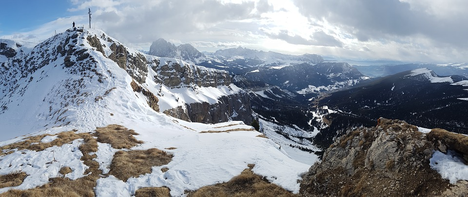 val Gardena - snow-covered dolomites