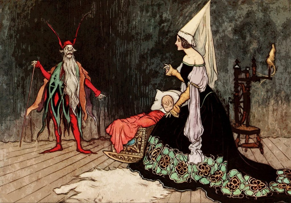 Fairy Tale Festival. Fairy tale illustration in which a fairy assists a child in bed in the presence of an elf