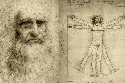 leonardo da vinci with his own drawing