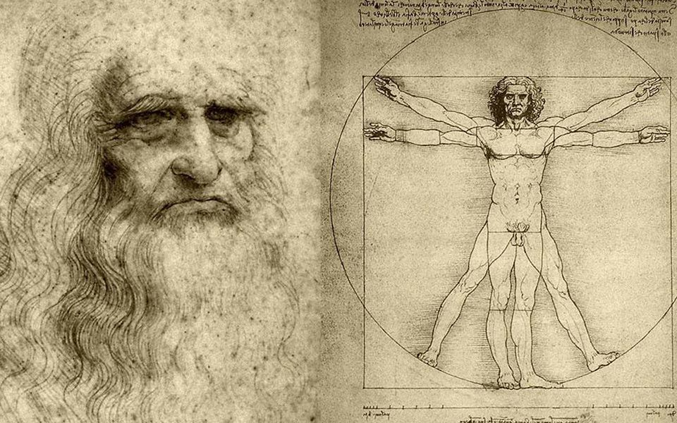 leonardo da vinci with his own drawing
