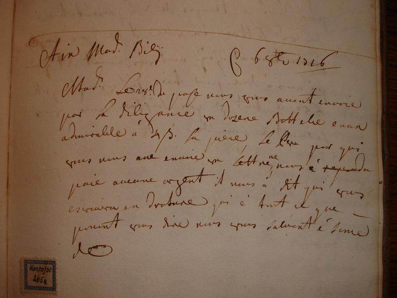 Acqua di Colonia: lettera di spedizione