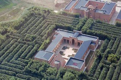 Labirinto della Masone - Fotografia dall'alto della piazza e del labirinto