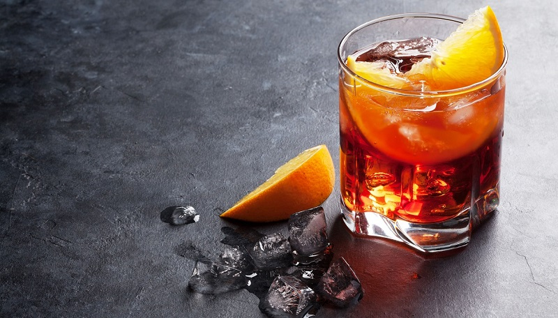 The Negroni served with ice and orange