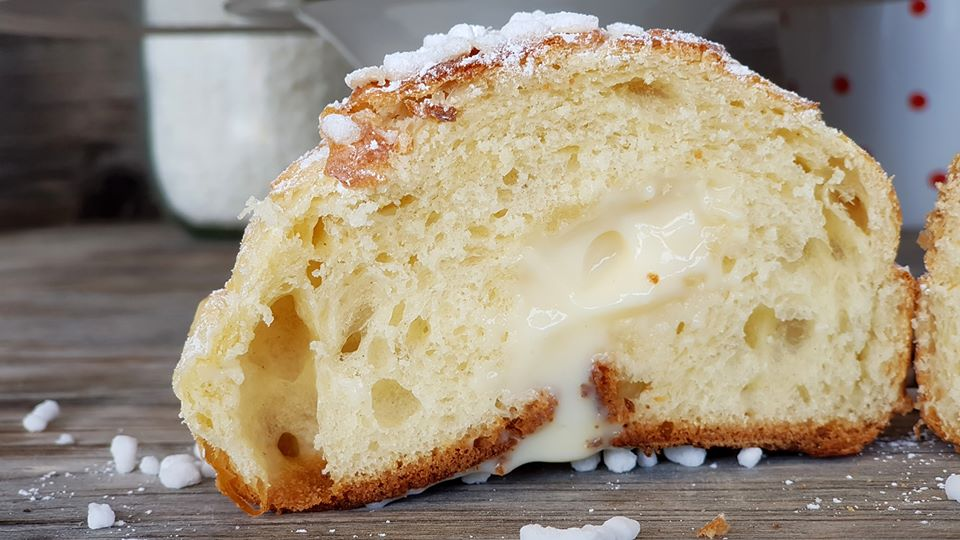 Venetian -sweet cut in half with the cream