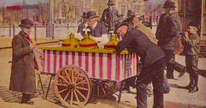 ice cream is Italian - old postcard