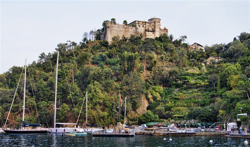 The Brown castle behind the village of Portofino