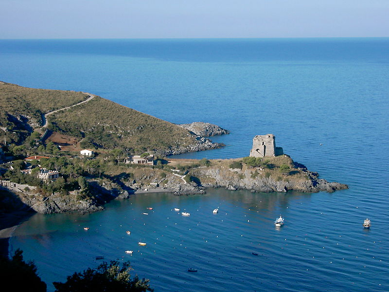 San Nicola Arcella. Panoramic view of the Saracen tower that rises above the sea