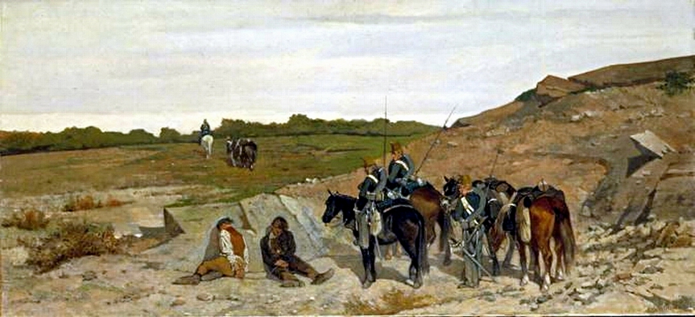 the brigands' path. Painting by G. Fattori representing an episode of the campaign against banditry
