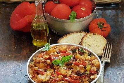 Fried Sicilian caponata and main ingredients