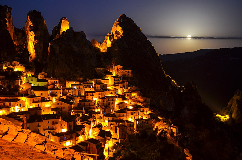 little lucanina dolomites. Photograph of Castelmezzano in the evening lights