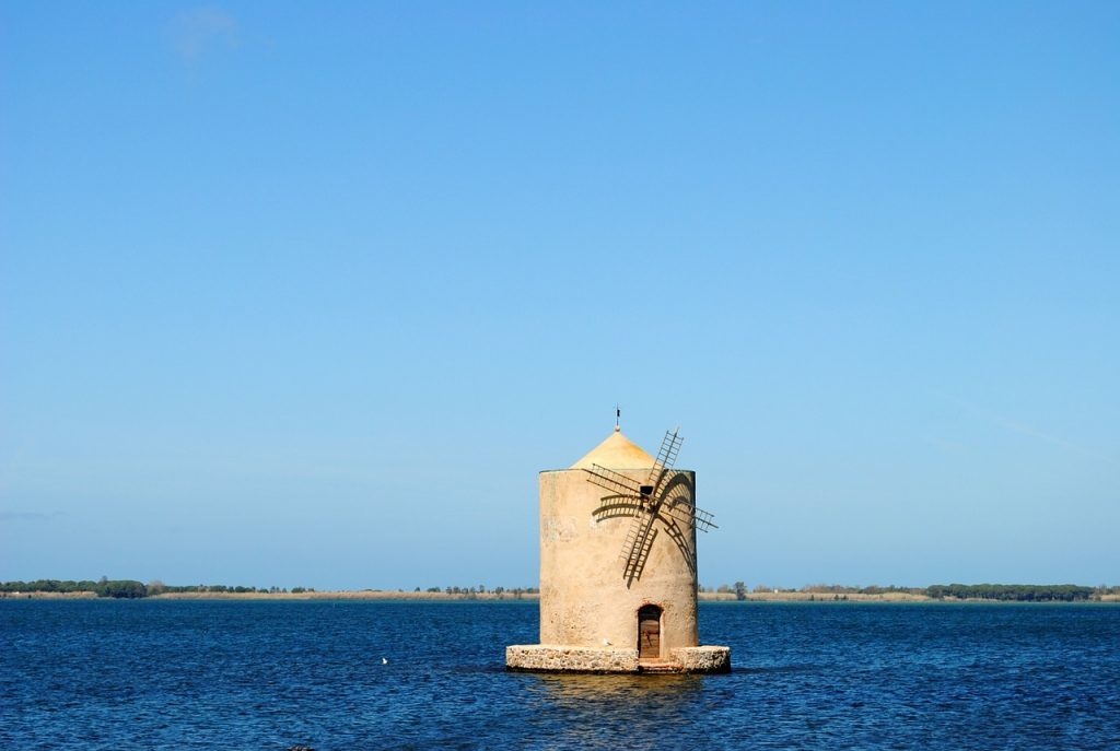 Orbetello. Spanish mill in the Orbetello lagoon.