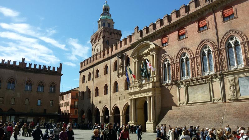 View of the Palazzo d'Accursio in Bologna