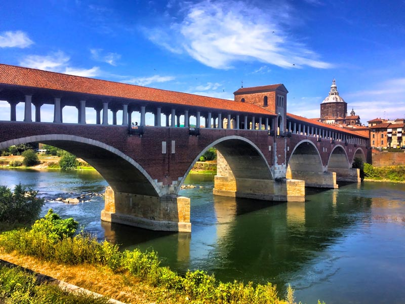 View of the Covered Bridge that connects Pavia to Borgo Ticino
