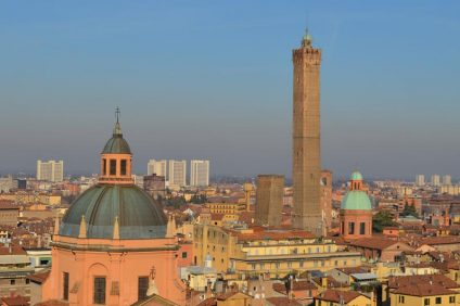 Towers of Bologna in the middle of the buildings