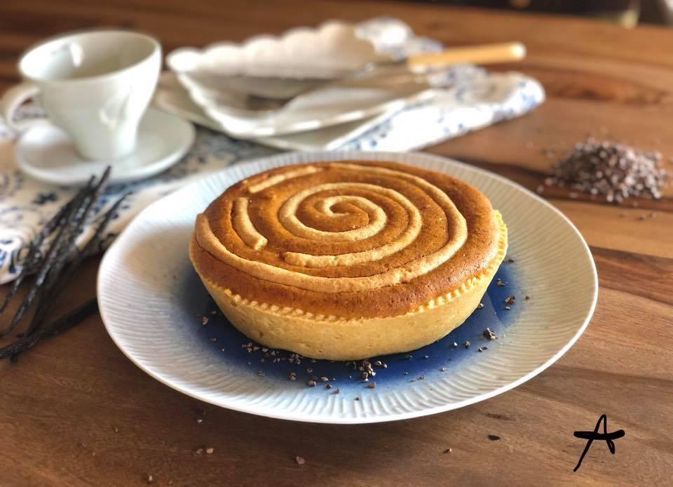 closeup of vortex pie with cream